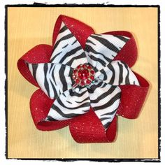 Nicole's Beautiful Folded Ribbon Flower using two different colors