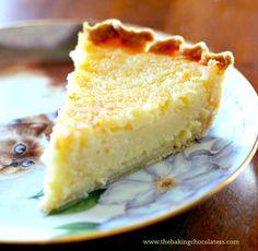 The Baking ChocolaTess | Creamy Lemon Coconut Custard Pie | http://www.thebakingchocolatess.com
