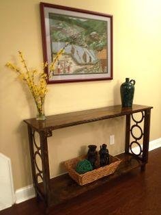 Lazy Liz on Less: Hallway side table DIY