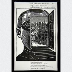 Originales Ausstellungsplakat einer Werksausstellung von Rolf Kuhrt im Gottfried-Wilhelm-Leibniz-Klub Leipzig, signiert & datiert, 1977.  ABMESSUNGEN: ca. B 49,0 cm x H 86,3 cm