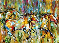 Artwork by Tarlton | Karen Tarlton Original oil painting Abstract Horses painting Equine ...