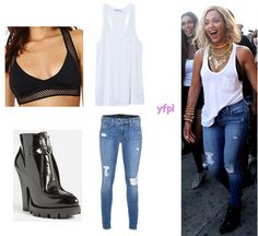 [Throwback] Beyoncé in XO music video wearing GENETIC LOS ANGELES Shya Cigarette Distressed Jeans In Torch ($218), NASTY GAL Maressa Mesh Bralette ($38), T by ALEXANDER WANG Classic Pocket Tank ($80) and PRADA Front Zip Lug Sole Booties($1,100)