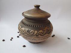 Ceramic pot with lid. Redware bakeware pot. by SmilingAlligator