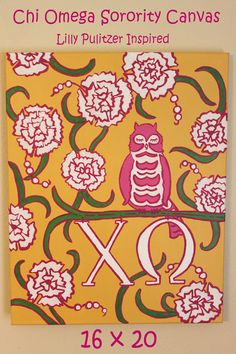 SOLD *Can Make Another* Lilly Pulitzer Inspired  Acrylic Canvas in Yellow Starfruit  Chi Omega Print 16 x 20    Listed for $70.00 Original Painting on a 16 x 20 #lillypulitzer #sorority #chiomega