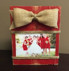 RED Rustic Wooden Photo Block, Picture Block, Shabby Chic Photo Frame with Burlap Bow 4 x 6 by BowtiqueBurlap on Etsy