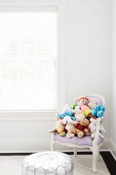 Girl's Bedroom With Silver Pouf, chair filled with stuffed animals Girl Room, Girls Bedroom, Baby Bedroom, Bedroom Ideas, Pouf Chair, Decoracion Vintage Chic, Childrens Bedroom Decor, Kids Room Design, Nursery Design