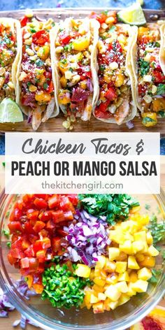 Easy chicken taco recipe with grilled or shredded chicken breast, peach salsa or mango salsa, and classic Mexican toppings. # Food and Drink salad Chicken Tacos w/ Peach or Mango Salsa Grilled Chicken Tacos, Shredded Chicken Tacos, Chicken Taco Recipes, Beef Recipes, Cooking Recipes, Potato Recipes, Summer Chicken Recipes, Fruit Recipes, Clean Dinners