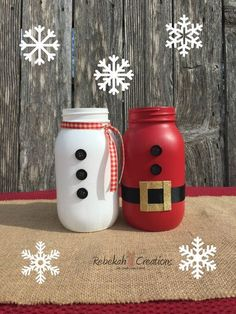 Santa and Snowman Mason Jars Christmas Mason by RebekahCreations - see this and other mason jars you can buy or make bottle crafts mason jars 15 Mason Jar Crafts You Can Do Today! Snowman Christmas Decorations, Christmas Mason Jars, Christmas Ornaments, Diy Snowman, Mason Jar Snowman, Santa Decorations, Snowmen, Christmas Projects, Holiday Crafts
