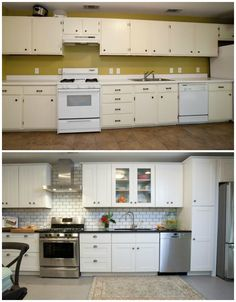 Property Brothers Kitchen Before and After Home Renovation Fact or Myth with the Property Brothers White Cabinets, Glass Cabinets, Reface Cabinets, Tall Cabinets, Kitchen Cabinets, Upper Cabinets, Property Brothers Kitchen, Property Brothers Designs, Home Renovation