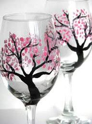 Painting wine glasses!