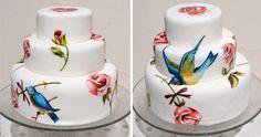 Bird Hand Painted Wedding Cake