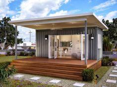 Taking Design of Container Homes Idea with Simple Terrace also Spacious Garden