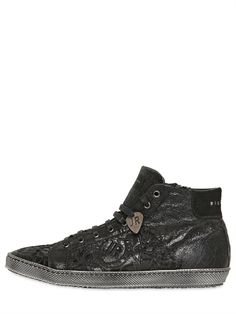 JOHN RICHMOND - STONE WASHED CRACKED LEATHER SNEAKERS - LUISAVIAROMA - LUXURY SHOPPING WORLDWIDE SHIPPING - FLORENCE