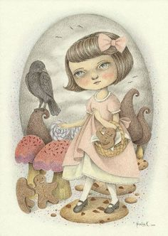 Original Illustration (Pencil Drawing) - The Candy Trail by Amalia K - $250.00, via Etsy.