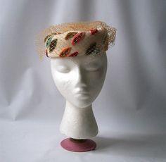 vintage hat cap leaves cream orange green by RecycleBuyVintage, $12.00