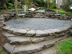 Broken concrete and gravel patio