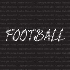 Football Slant Text Iron On Rhinestone Transfer bling from Jubilee Rhinestones!