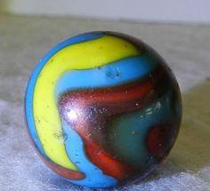 #5281m Large .736 Inches Vintage Peltier NLR Superman Marble *Good Category* #PeltierGlass