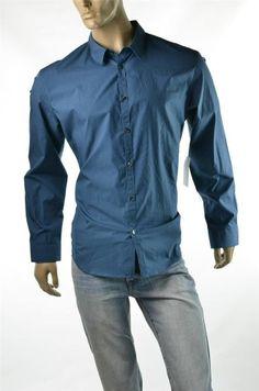 #Calvin Klein Blue #Shirts Men's Button-Down Trim Dress Shirt SZ XL New Slim $79
