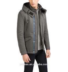 Grey parka Hood with interior piped detail Zip press stud closure fashion men's coat taslon nylon wind proof outdoor camping