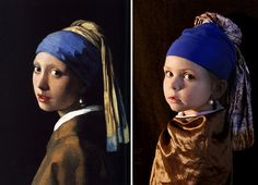 My name is Lucie Kruta and five years ago I got the idea of capturing transformations of my growing children a little more creatively. I started to take pictures of my kids in the style of famous paintings.   The first photograph was actually a coincidence.
