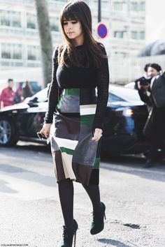 earth colors in patchwork skirt