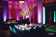 Stunning up-lighting and the black tables and chair covers nicely contrast the turquoise.