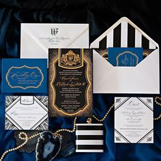 Our bride wanted silver and gold in her stationery suite so of course we gave her silver and gold! 😊. This suite was luxurious and contemporary, with classic black and white design and a pop of cobalt blue.  Bold black and white stripes complete the look for a stylish and debonair wedding. 🎩. We aren't fancy, yet we felt fancy printing this one. 😉 St Anne, Ford, Foil Stamped Wedding Invitations, Black And White Design, Cobalt Blue, Letterpress, Stationery, Stripes, Printing