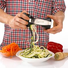 Vegetizer - Vegetable Spiralizer Cutter Complete Premium Bundle - 8 FREE Full Recipe eBooks, Cleaning Brush and Pouch Bag Included - Spiral Slicer - Healthy Veggie Noodle, Zucchini Pasta and Spaghetti Maker #spiralizer #healthyliving #health #vegeterian #paleo #healthyfood #vegetizer
