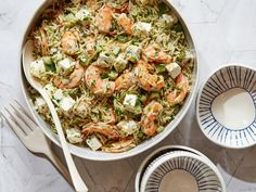 Roasted Shrimp and Orzo Recipe from Food Network Orzo Recipes, Seafood Recipes, Cooking Recipes, Healthy Recipes, Delicious Recipes, Rice Recipes, Healthy Meals, Easy Recipes, Salad Recipes