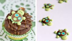 Turtle cupcakes.  This tutorial shows you how to make the turtles decorations and provides the surprise turtle cupcake recipe too.