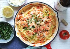 The sauce, it's so delicious. You just can't go wrong with the combination of basil, tomatoes, garlic, wine, and cream all tossed with shrimp and spaghetti noodles.