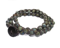 Beaded stone stacking macrame wrap bracelet anklet by GemsdeVine, $24.99