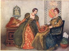 Portia and Nerissa, illustration from 'The Merchant of Venice', c.1910 by Sir James Dromgole Linton