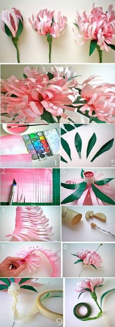 Beautiful Paper Flowers - DIY - I've made lazy susans in this way! It's tricky but lots of fun. :-)