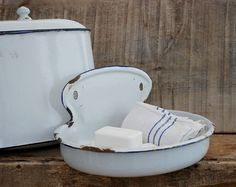 Antique enamel fountain White enamelware by FrenchTouchBoutique