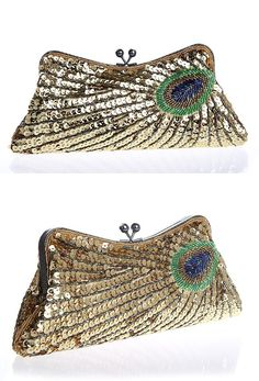 Our 1930's inspired Deco Peacock Evening Purse is a perfect addition to any evening look! Handbeaded with a reproduction antique metallic frame and chain, the purse features a satin lining, bubble cla