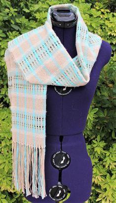 Étole écharpe tissée main, châle à rayures, poncho fait main, cape en  coton, écharpe ajourée, foulard à franges tons beige turquoise naturel 4f6b9cf6218