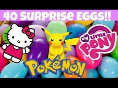 40 Surprise Eggs!! Pokemon, Hello Kitty and My Little Pony - YouTube