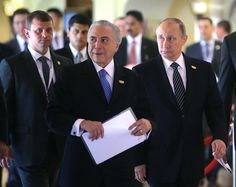 Russian President Vladimir Putin and the President of Brazil Michel Temer at the summit of the BRICS leaders