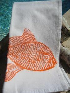 Isola Bella Gourmet Kitchen Towel - Fish / Orange