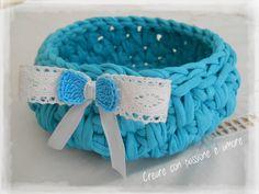 Cestino in fettuccia ad uncinetto by https://www.facebook.com/creareconpassioneeamore/ … #crochet #handmade #lemaddine #basket