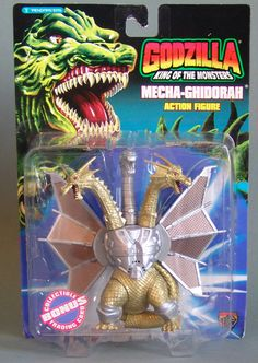 Mecha-Ghidorah Action Figure. This 5 inch tall action figure was made in 1994 by Trendmasters. Minor shelf wear to card.
