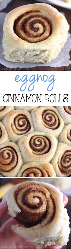 Healthier Eggnog Cinnamon Rolls – only 151 calories & the perfect holiday breakfast treat! They don't taste healthy at all! ♡ best eggnog cinnamon rolls for the holidays and christmas morning breakfast. Healthy Sweets, Healthy Baking, Healthy Snacks, Holiday Baking, Christmas Baking, Scones, Baking Recipes, Dessert Recipes, Bread Recipes