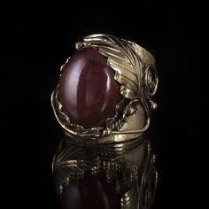 Brass Leaf Ring Native American Inspired Design Tribal by TRIBALIK