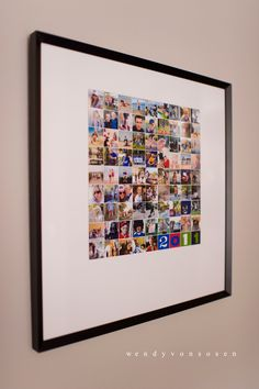 It ends up being a 12×12 print with each image about an inch square. I framed it in a 20×20 with a simple white matte. The kids love to hunt for themselves in the squares and it's a fun conversation piece as well. Read more at http://tatertotsandjello.com/2012/01/19-ways-to-display-photographs-in-your-home.html#pwiqhYIUZXSJzrzJ.99