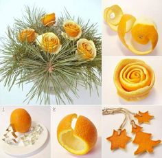Orange flowers and figures, they can be made out of lemon too, great for natural prefume