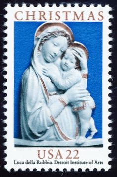 The 1985 Christmas stamps were both superbly executed. This is an enameled terra-cotta by Luca della Robbia. The white on blue makes a wonderfully designed stamp.