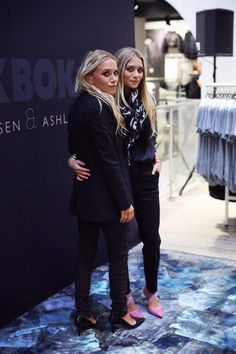 Mary-Kate and Ashley Olsen wearing Bik Bok at the launch of their collaboration with the label Norway aug 7th 2013.......