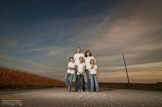 family photo on a country road